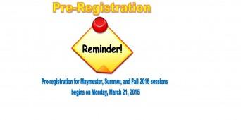 Summer 2016 Pre-Registration Starts Today!