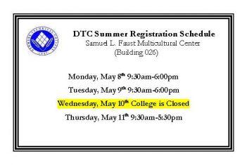 DTC 2017 Summer Registration Schedule