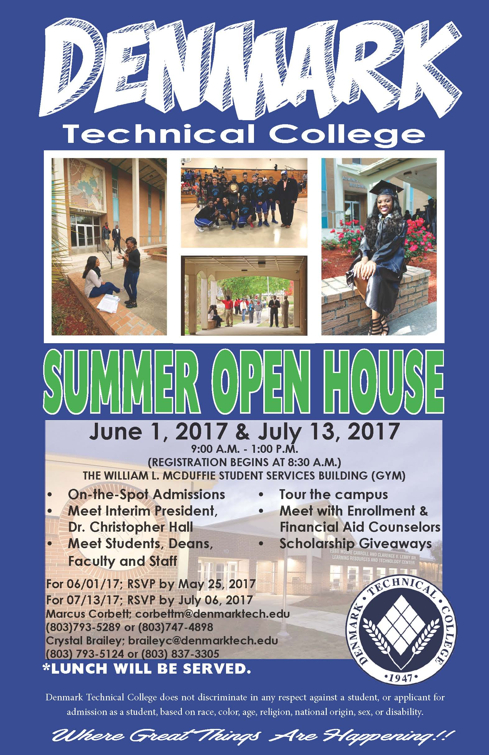 Denmark Technical College Summer 2017 Open House Sessions