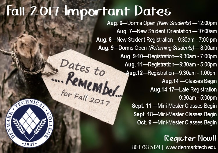 Important dates to remember for fall 2017