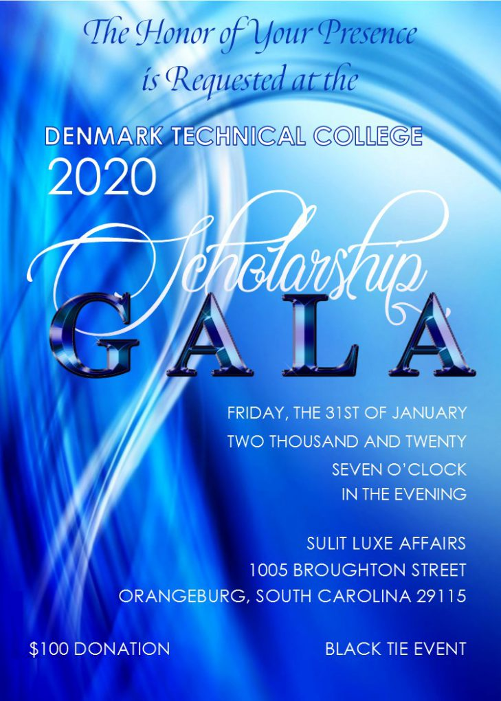 2020 scholarship gala to be held friday january 31, 2020 at sulit luxe affairs, 1005 broughton street, orangeburg, sc at 7 pm. tickets are $100.00 and it is a black tie event.